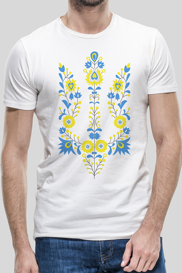 "T-shirt ""Emblem Flower Yellow-Blue"""