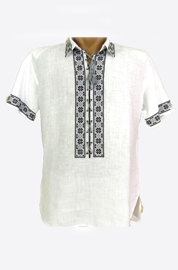 "Embroidered shirt men ""Periwinkle"""