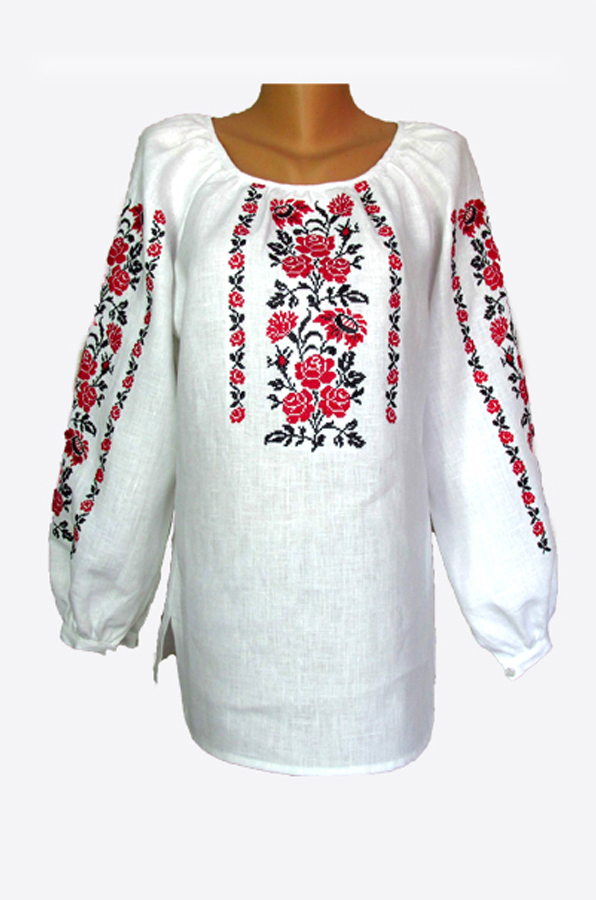 "Embroidered blouse women ""Roses with cornflowers"""