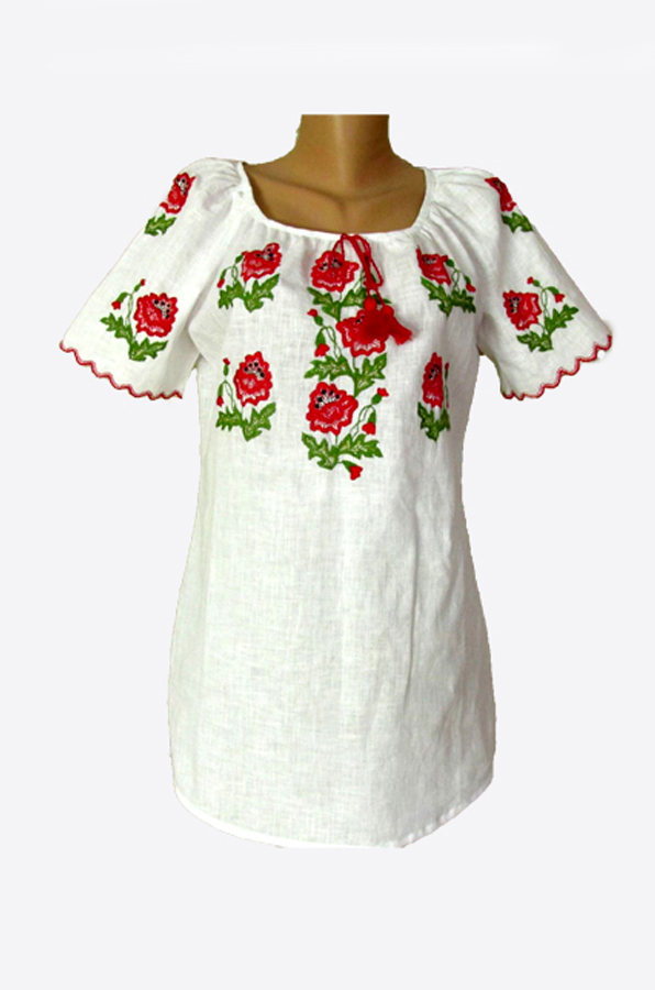 "Embroidered blouse women  ""Poppy 2"""