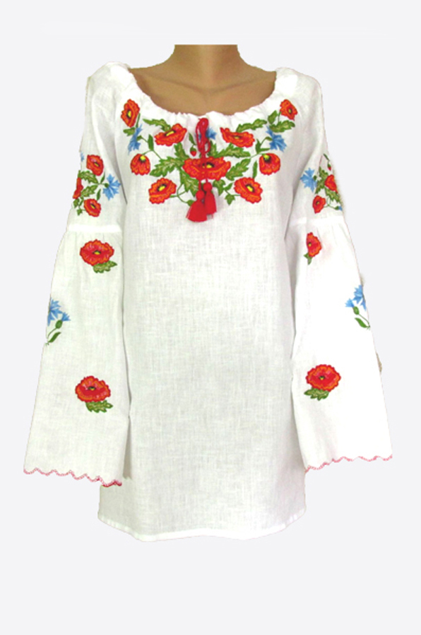 "Embroidered blouse women ""Poppy with cornflowers"""